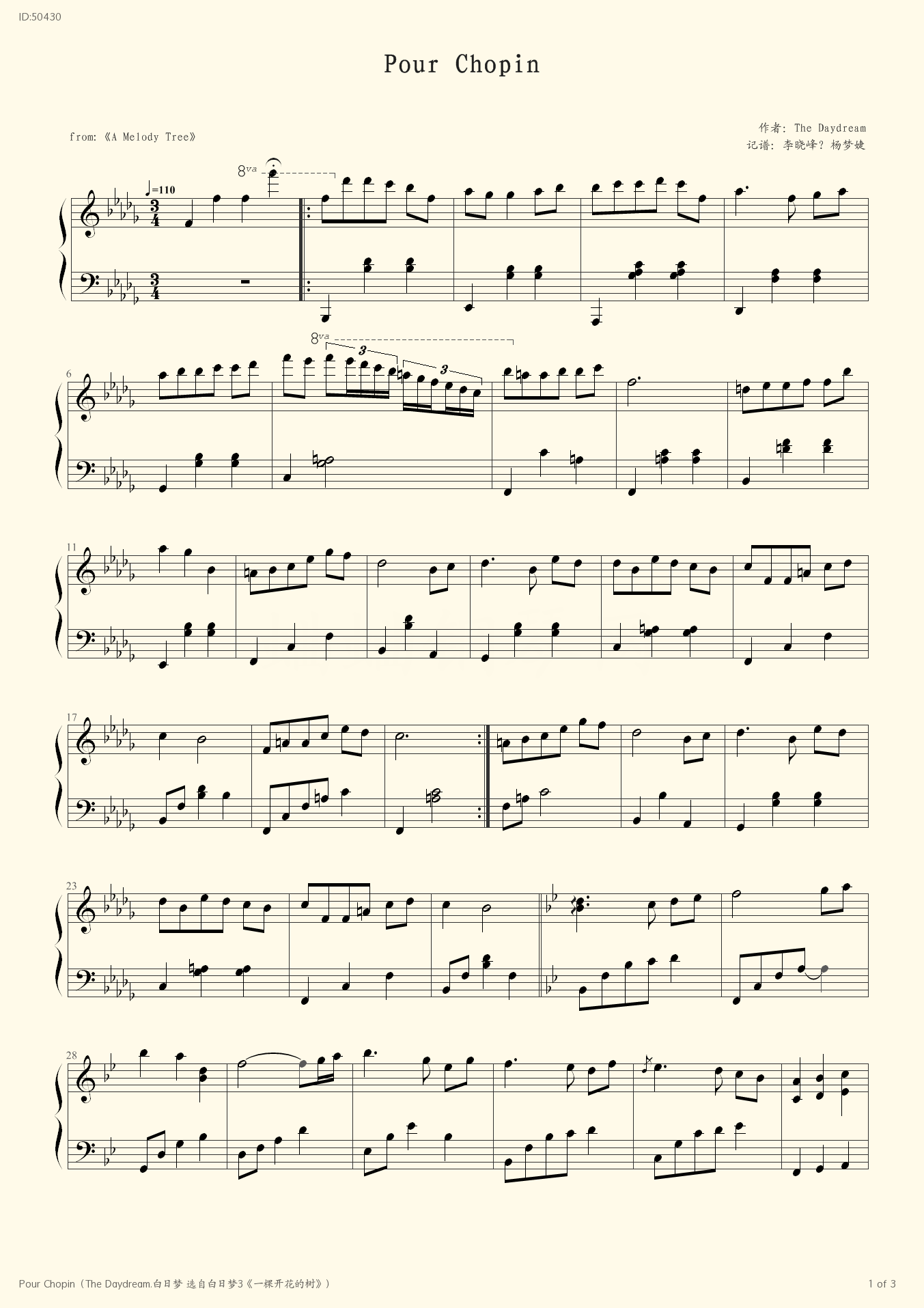 Pour Chopin The Daydream 3  - The Daydream  - first page
