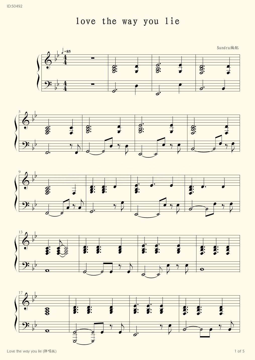 Love the way you lie , Piano score》Skylar Grey Piano music ...