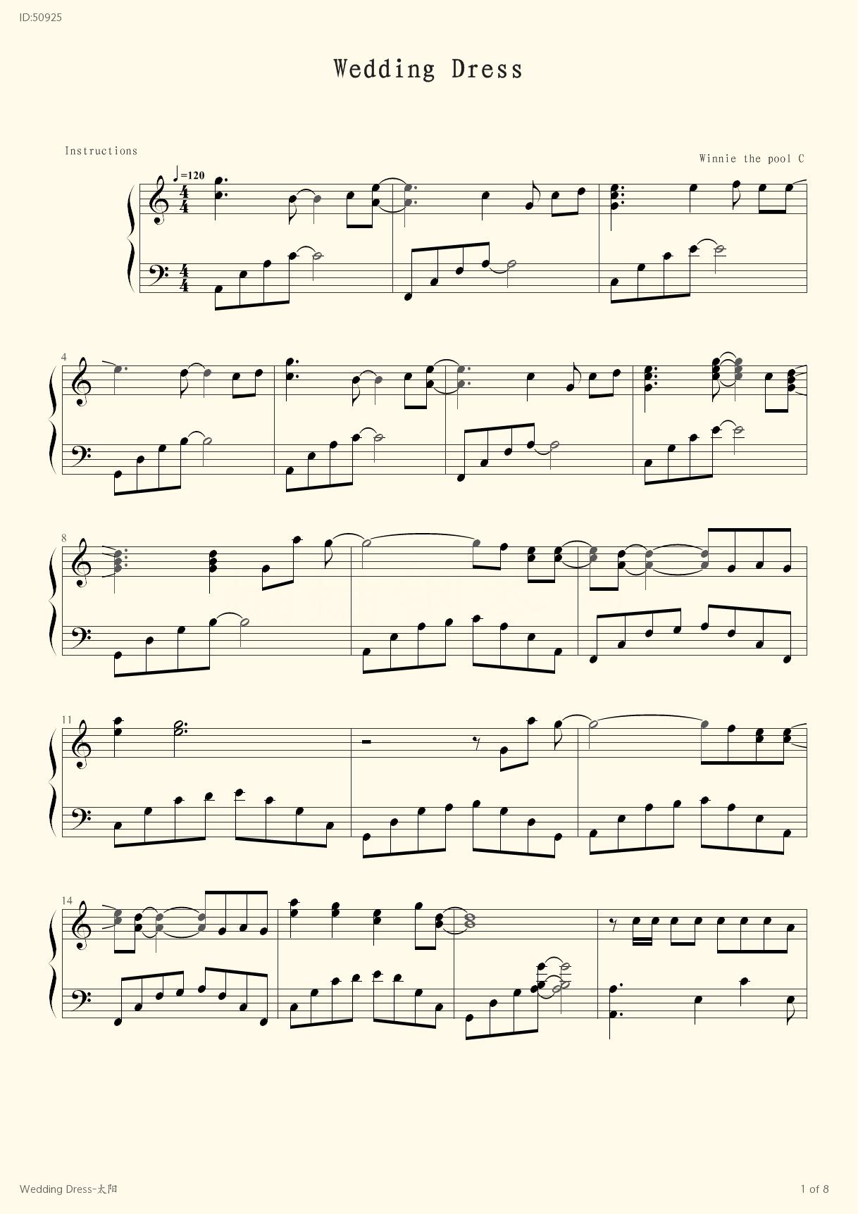 Wedding Dress , Piano score》Bigbang (Piano music Fingering) - Sheet ...