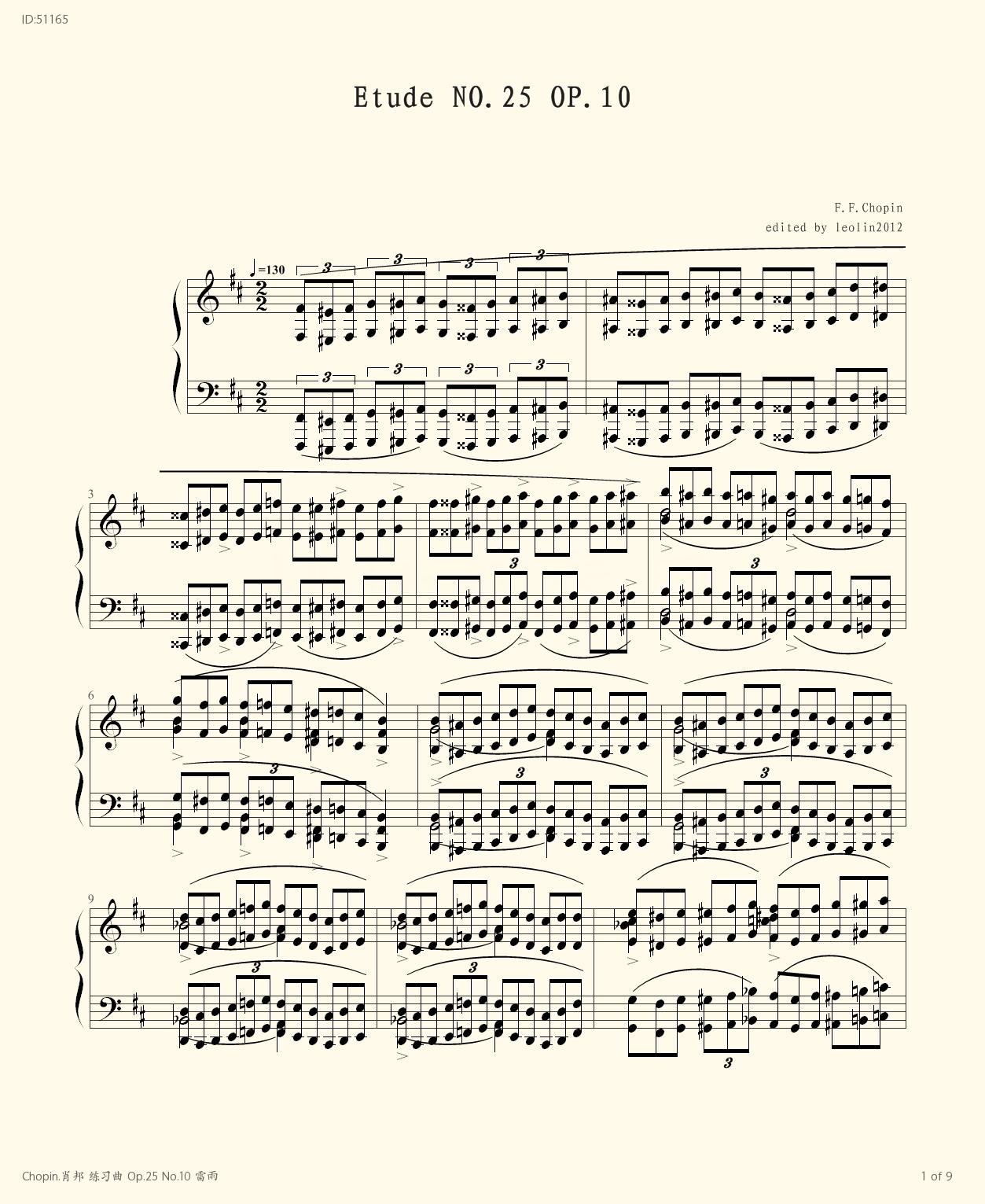 Chopin Op 25 No 10  - Chopin  - first page