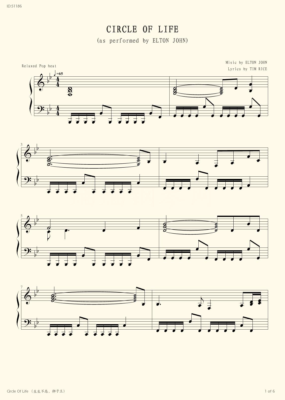 Circle Of Life  - Elton John - first page