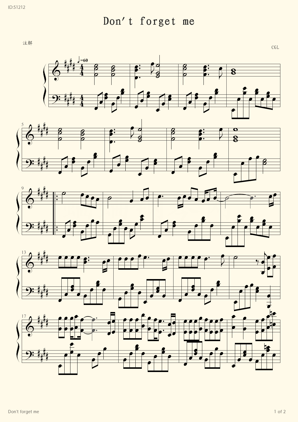 Don t forget me - CGL - first page