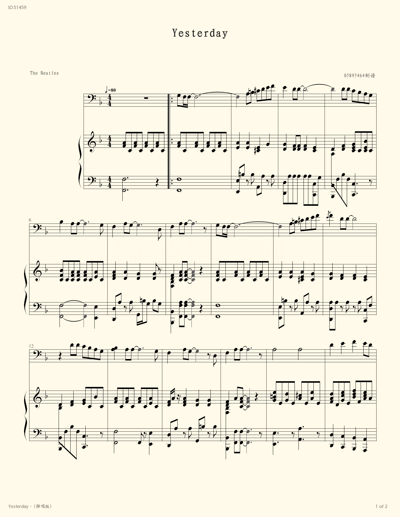 Yesterday  - Beattles - first page