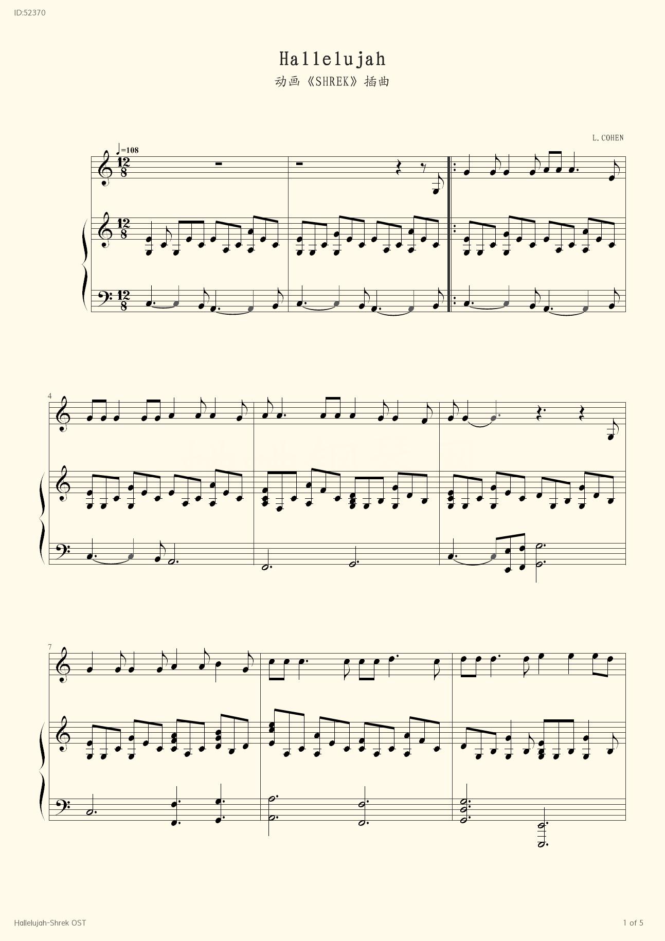 Hallelujah Shrek OST - Rufus Wainwright - first page