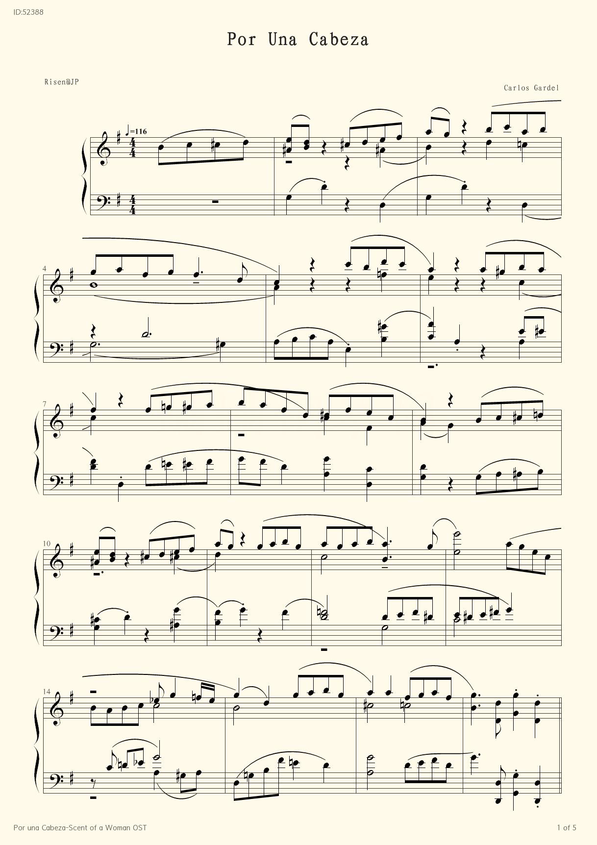 Por una Cabeza Scent of a Woman OST - Carlos Gardel - first page