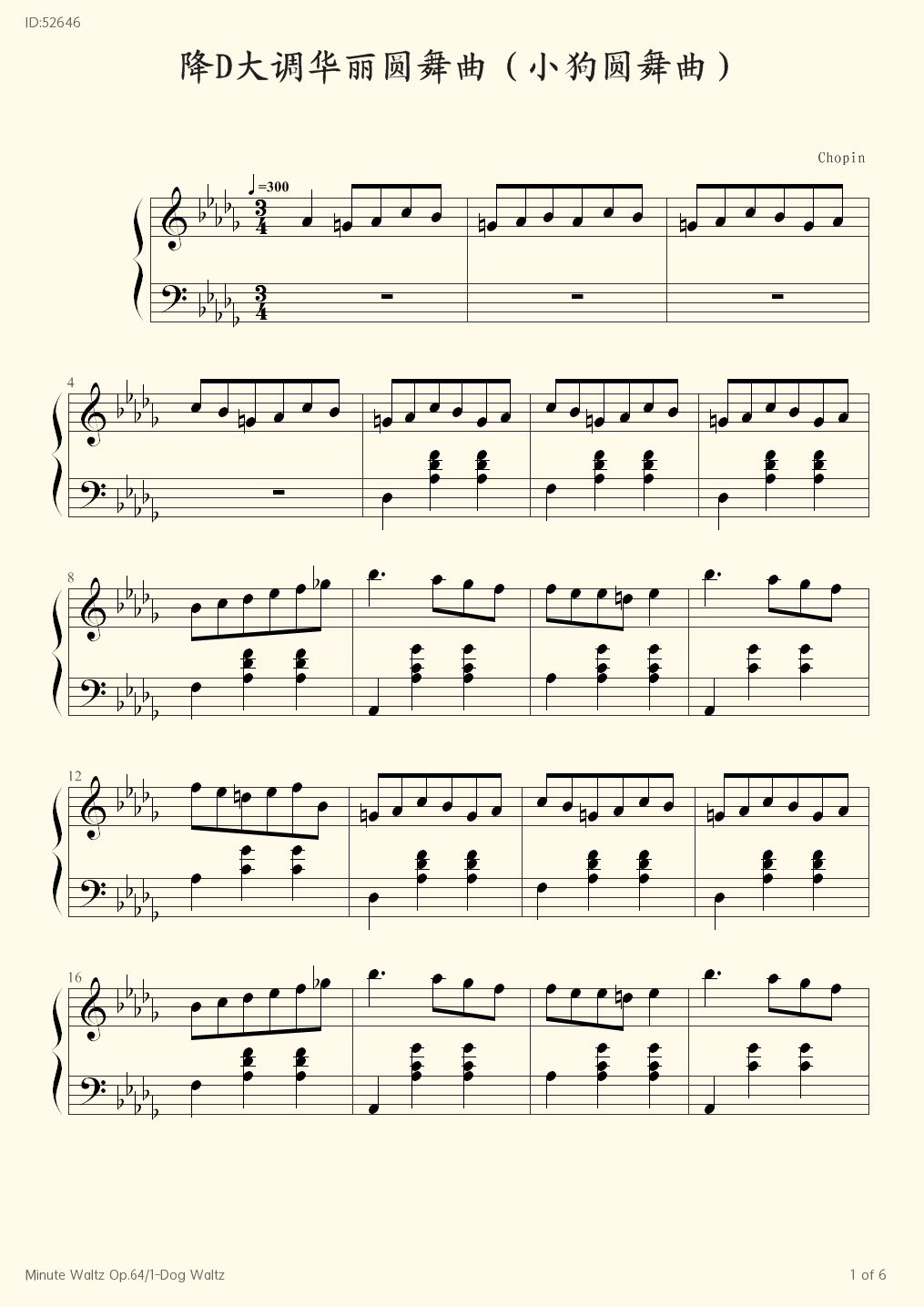 Minute Waltz Op 64 1 Dog Waltz - Chopin - first page