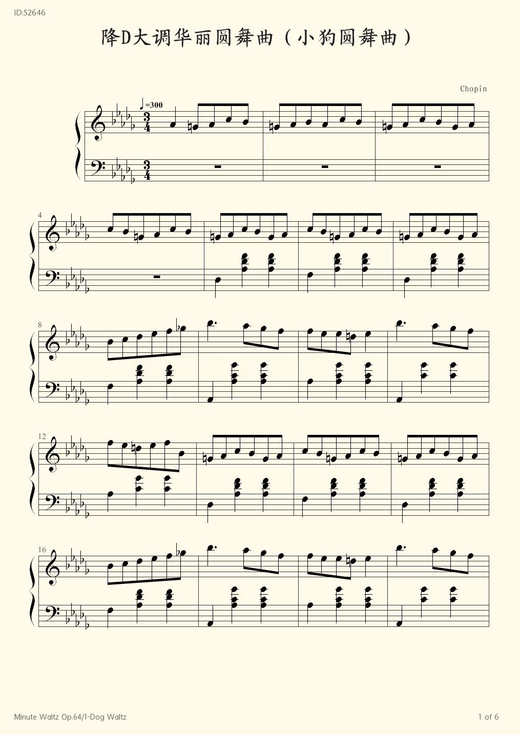 Minute Waltz Op 64 1 Dog Waltz - Chopin - first page