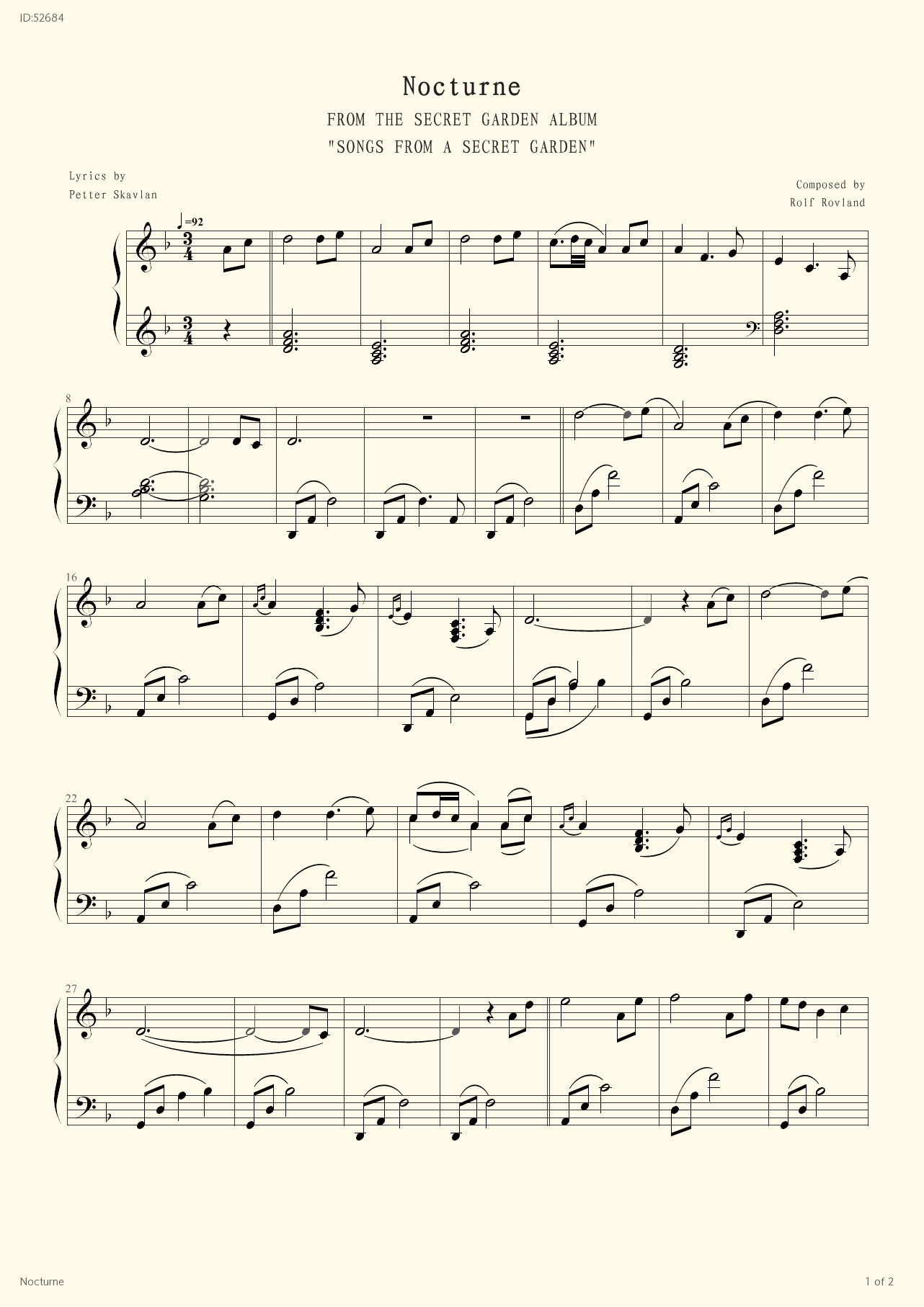 Nocturne - Secret Garden - first page