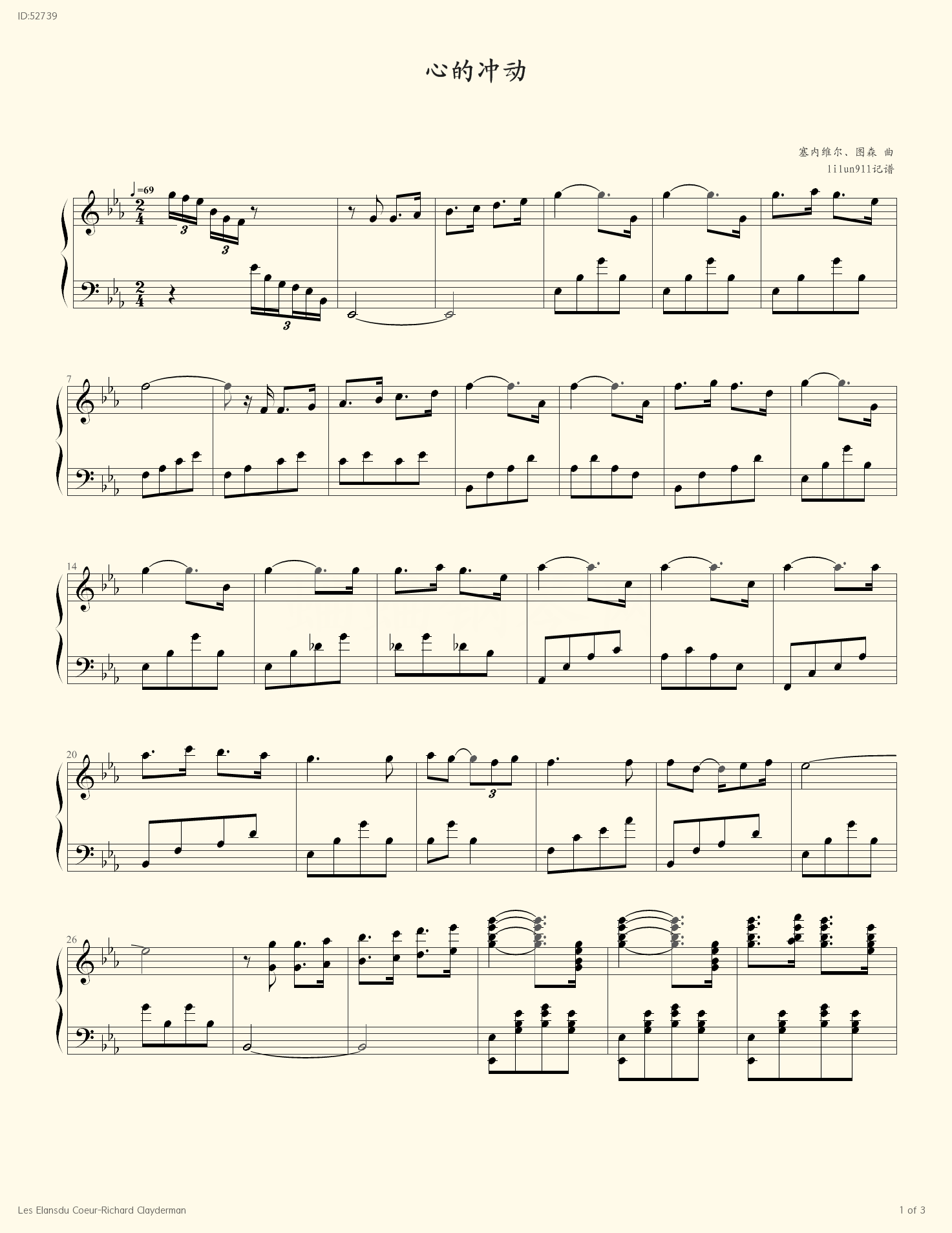 Les Elansdu Coeur Richard Clayderman - Richard Clayderman - first page
