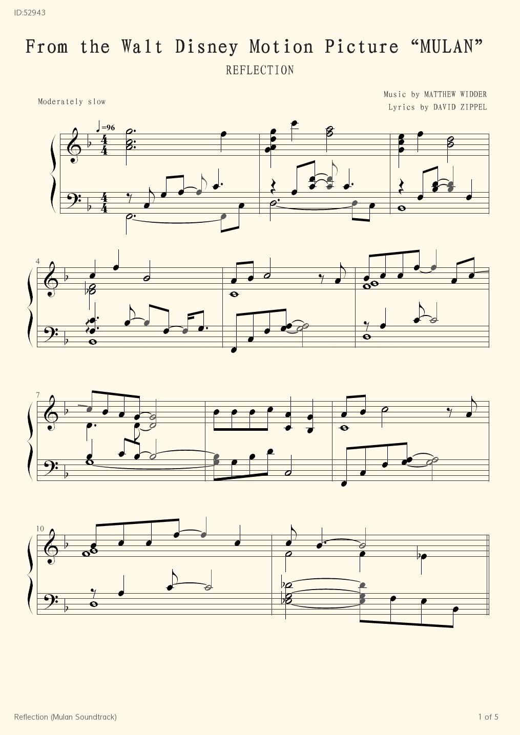 Reflection Mulan Soundtrack - Christina Aguilera - first page