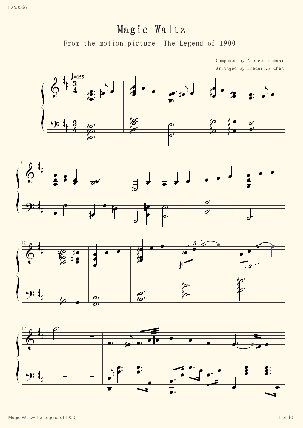 Magic Waltz The Legend of 1900 - Amedeo Tommasi - first page