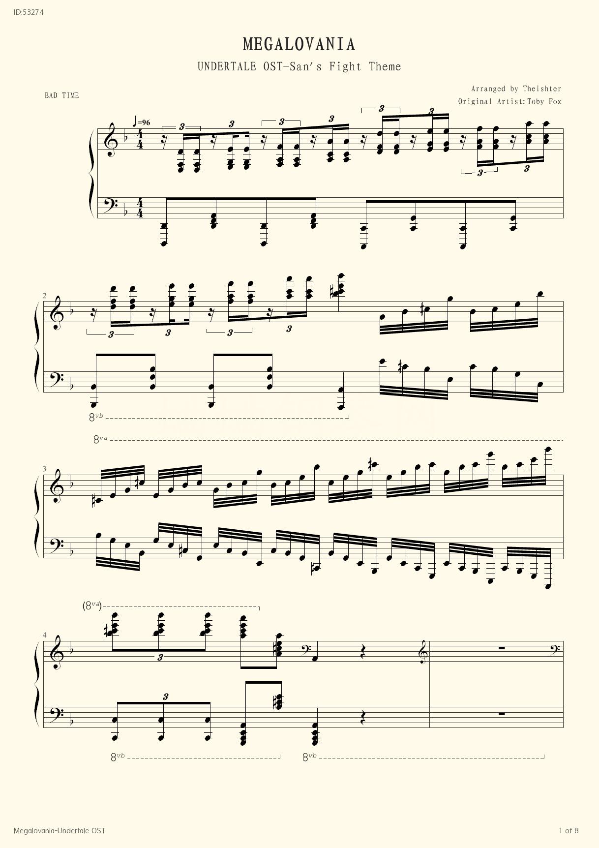 Megalovania Undertale OST, Piano score》Toby Fox (Piano