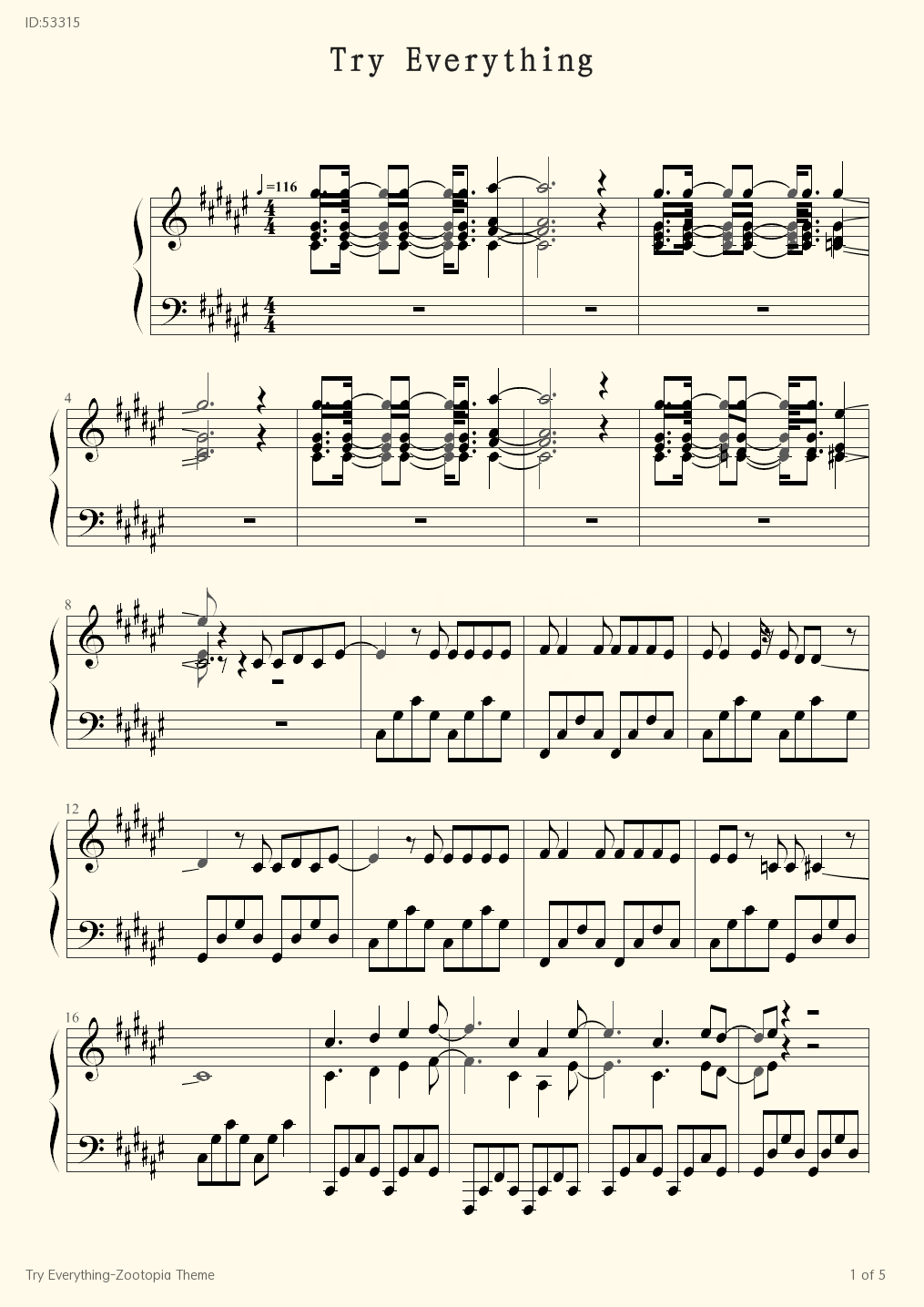 Try Everything Zootopia Theme - Shakira - first page