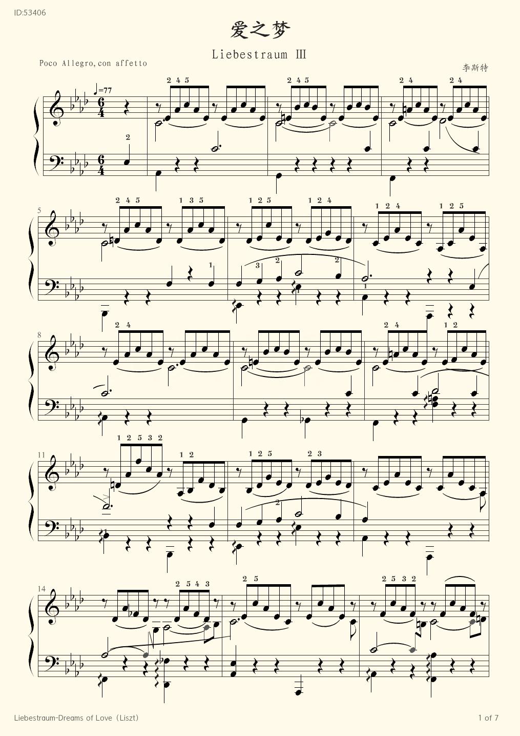 Liebestraum Dreams of Love Liszt - Franz Liszt - first page
