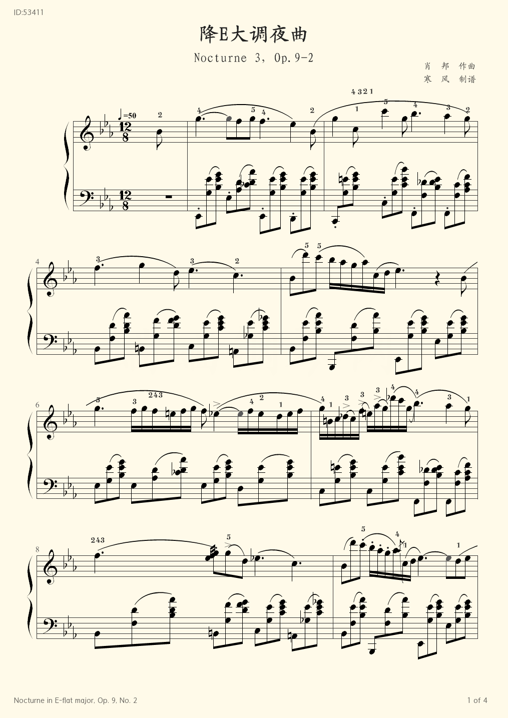 Nocturne in E flat major Op 9 No 2 - Fr d ric Chopin - first page