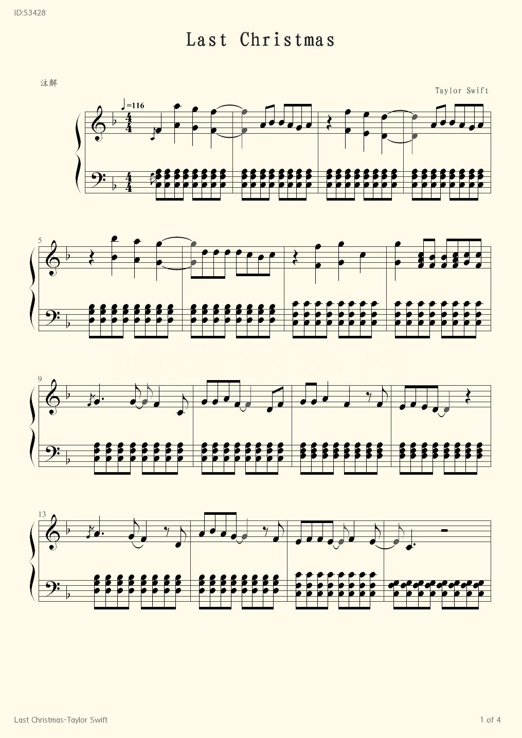 Last Christmas Taylor Swift Piano Score Taylor Swift Piano Music Fingering Sheet Music Bar