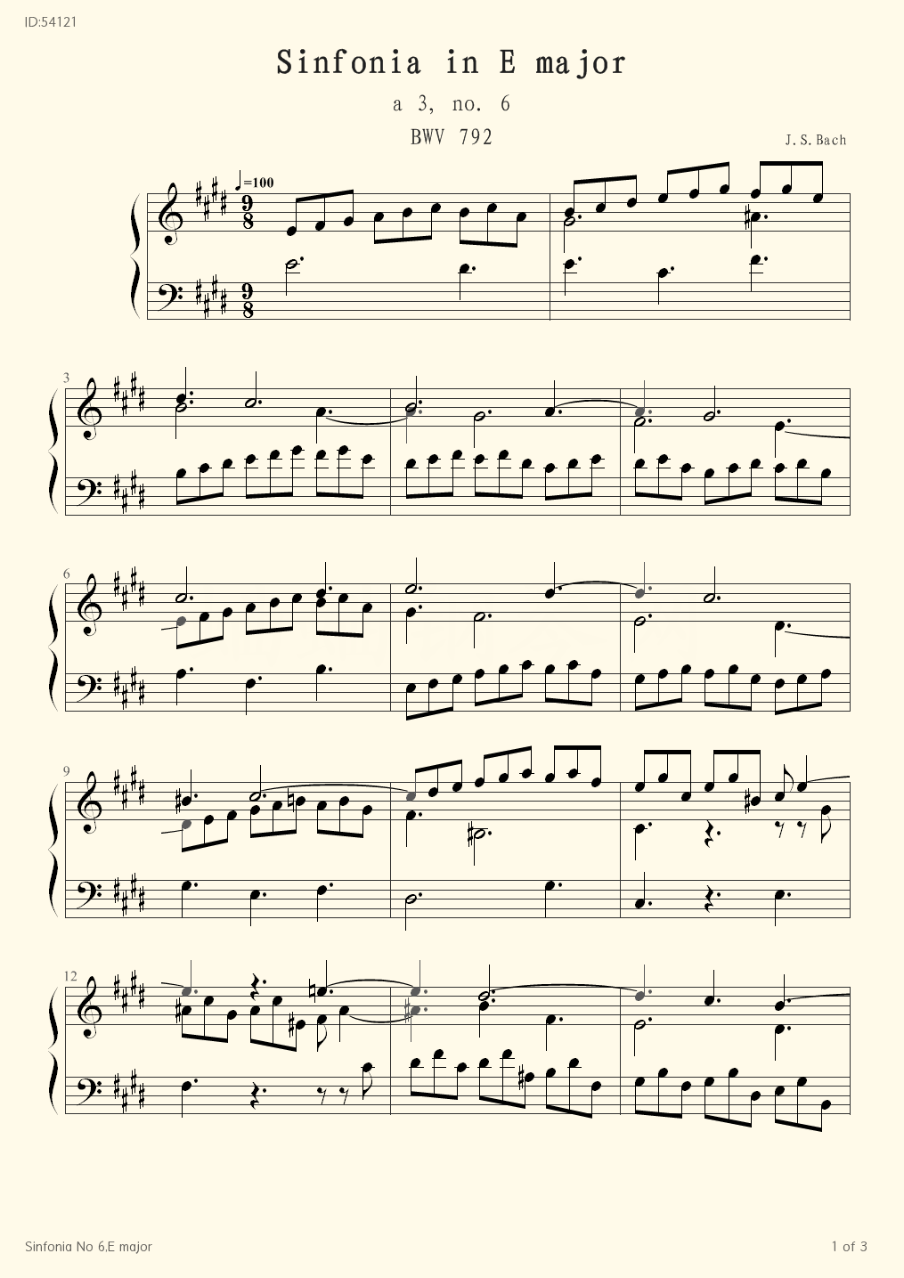 Sinfonia No 6 E major - Bach - first page