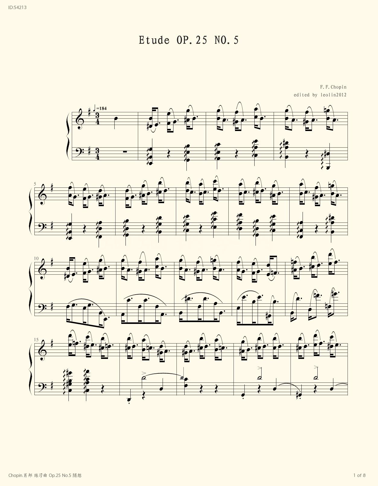 Chopin Op 25 No 5 , Piano score》Chopin (Piano music