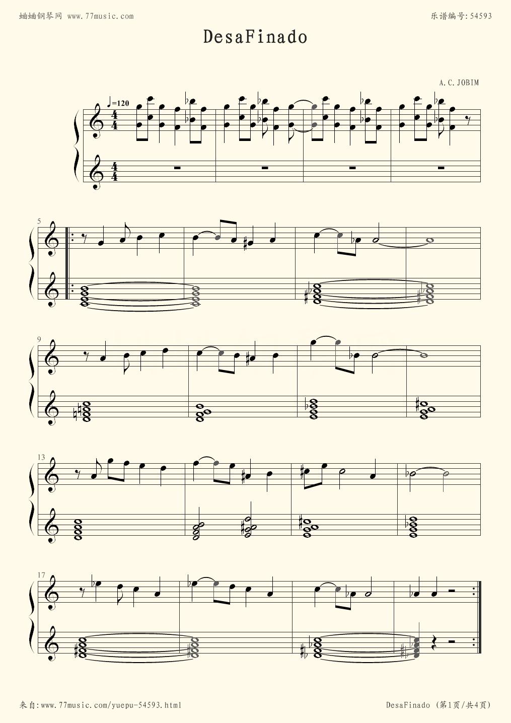 Desafinado - Stan Getz - first page