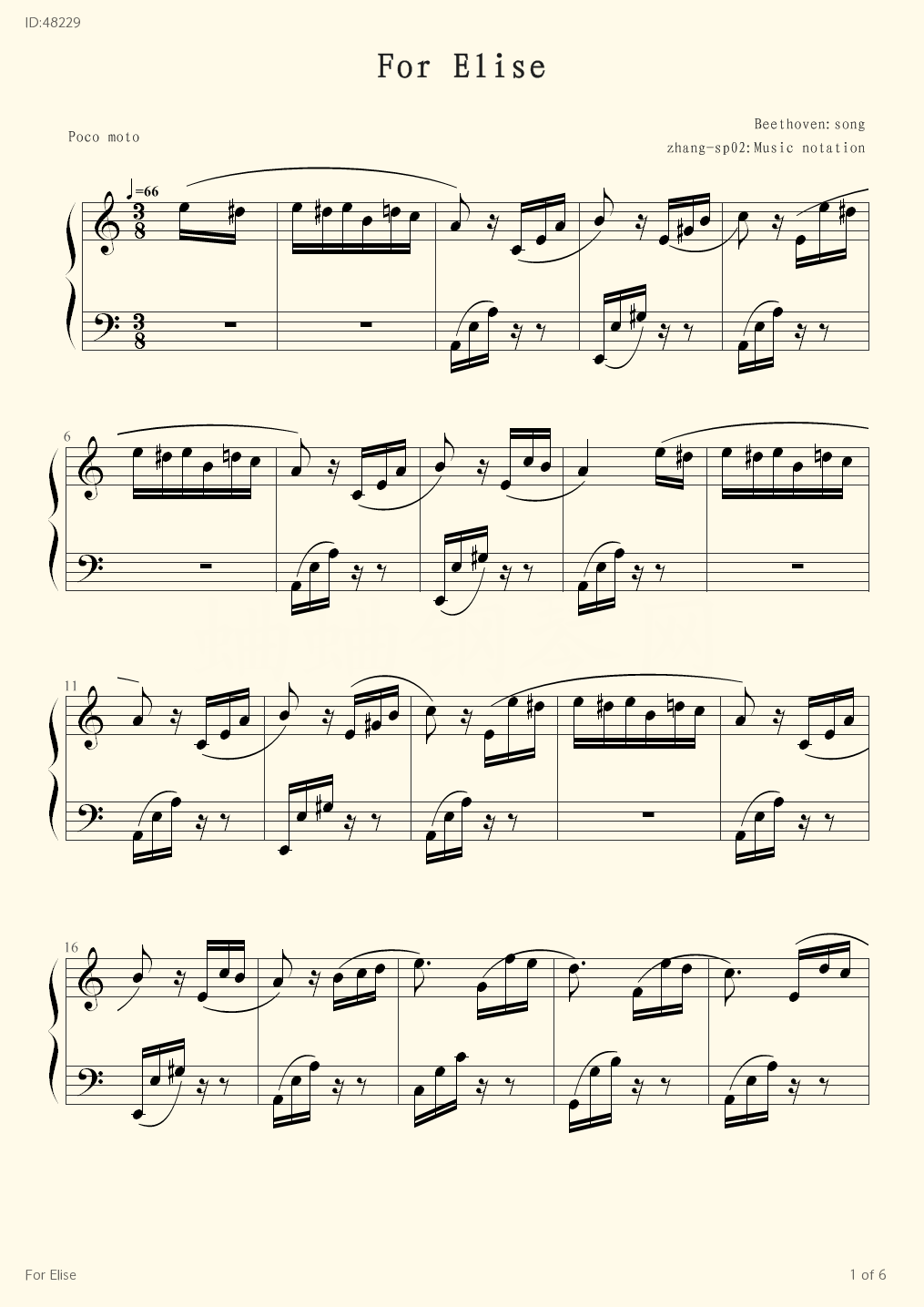 For Elise - Beethoven - first page