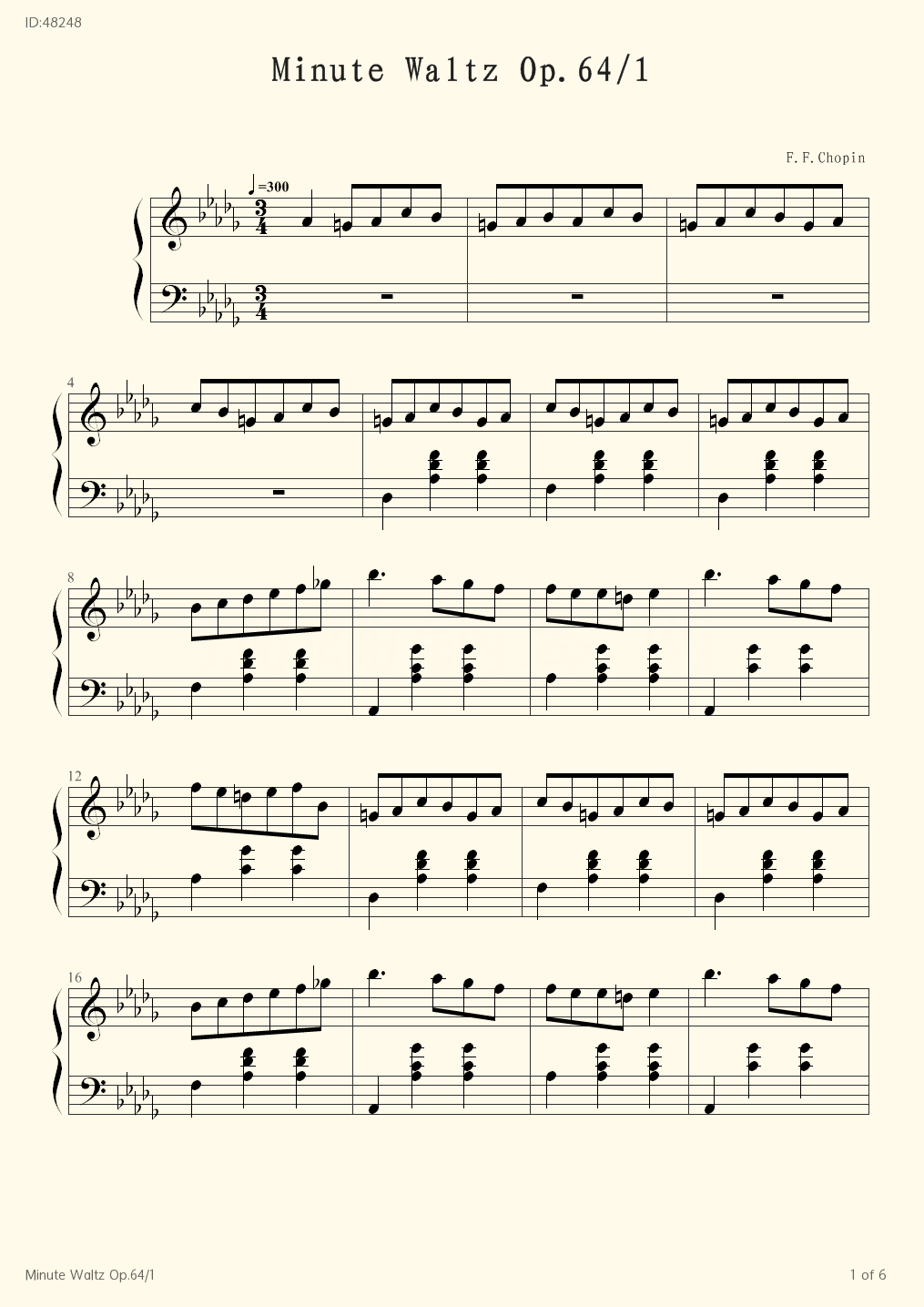 Minute Waltz Op.64/1 - F.F.Chopin - first page