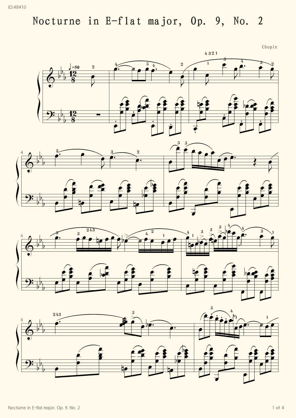 Nocturne in E-flat major, Op. 9, No. 2 - Chopin - first page