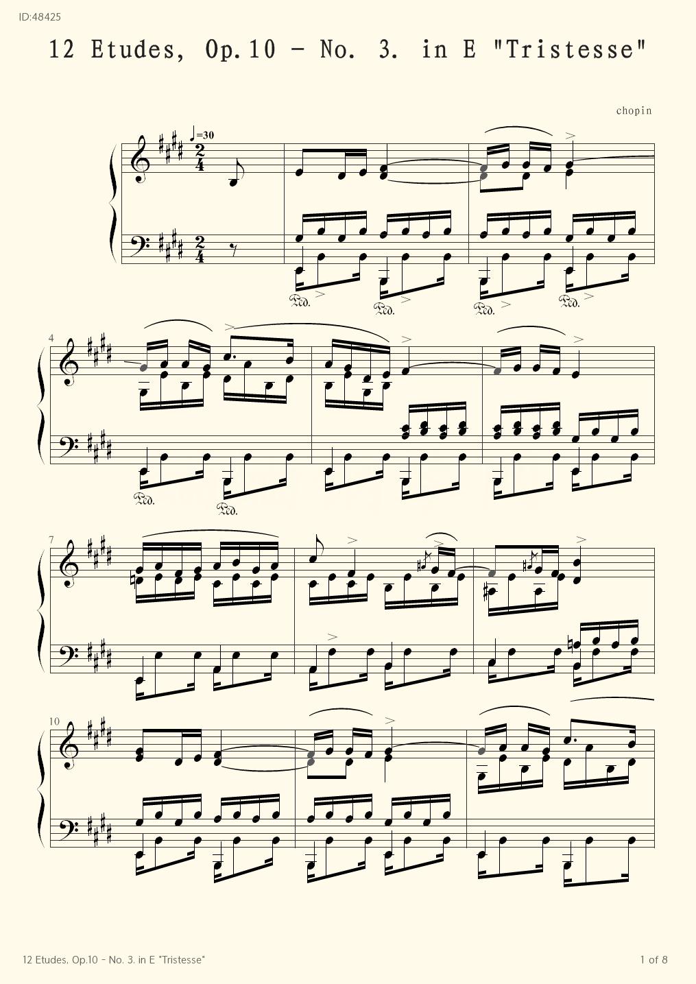 12 Etudes, Op.10 - No. 3. in E