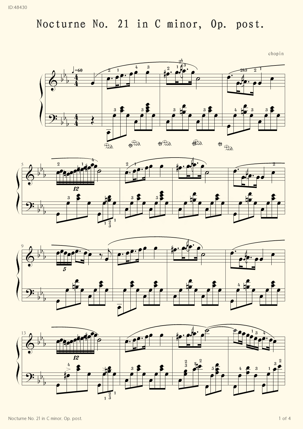 Nocturne No. 21 in C minor, Op. post. - chopin - first page