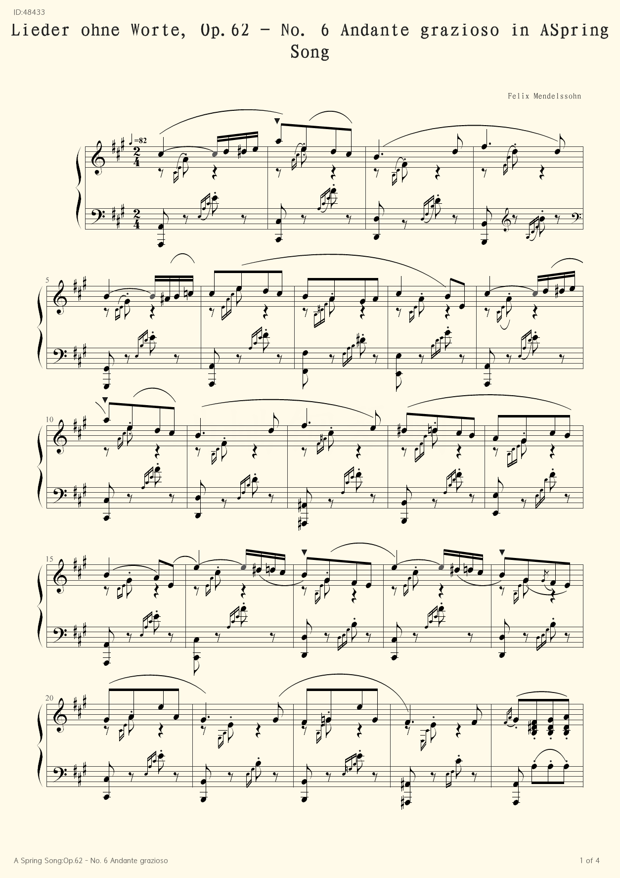 A Spring Song:Op.62 - No. 6 Andante grazioso  - Felix Mendelssohn - first page