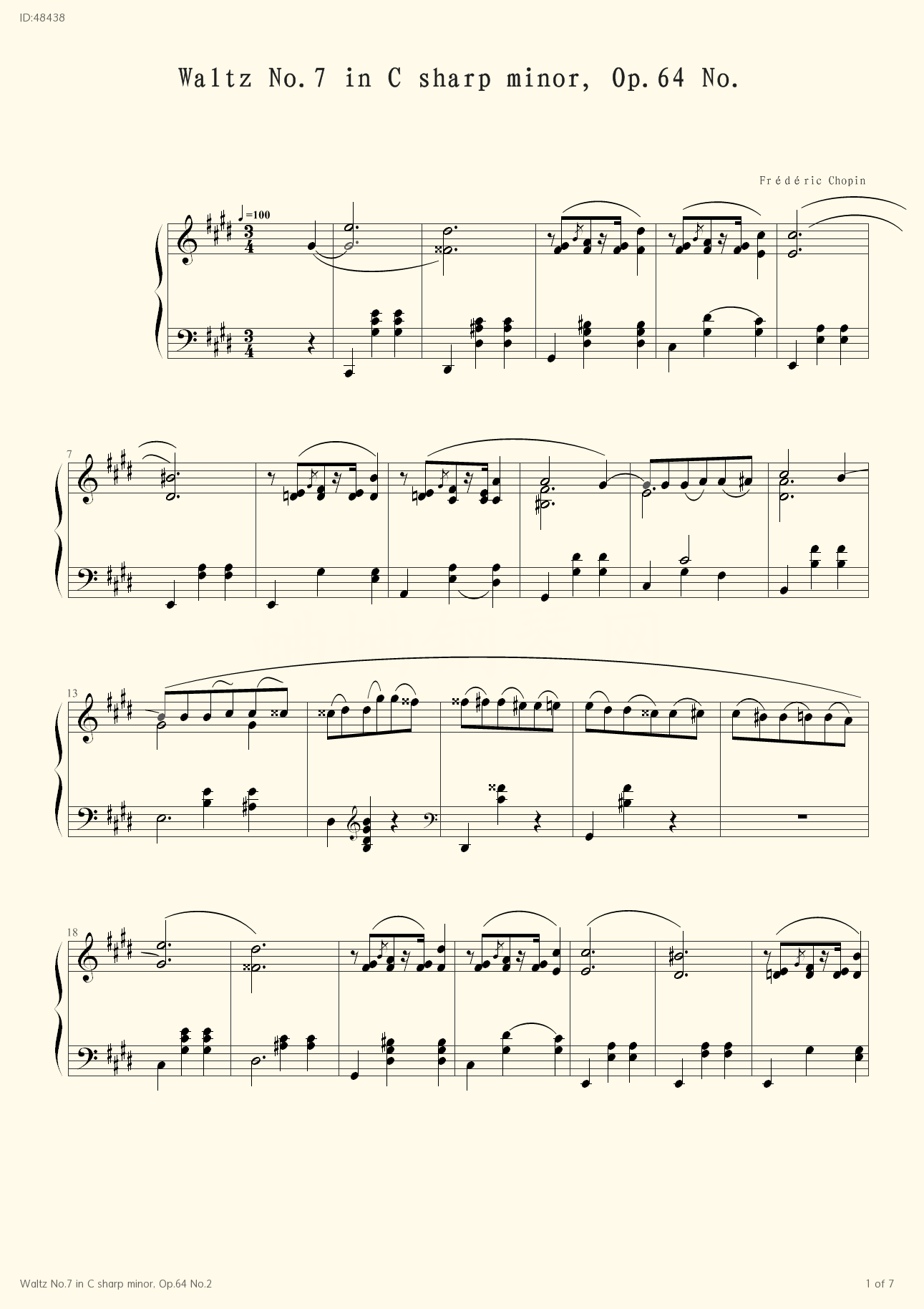 Waltz No.7 in C sharp minor, Op.64 No.2 - Frédéric Chopin - first page