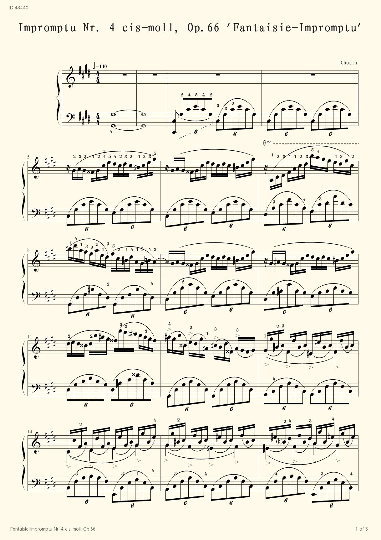 Fantaisie-Impromptu Nr. 4 cis-moll, Op.66 - chopin - first page