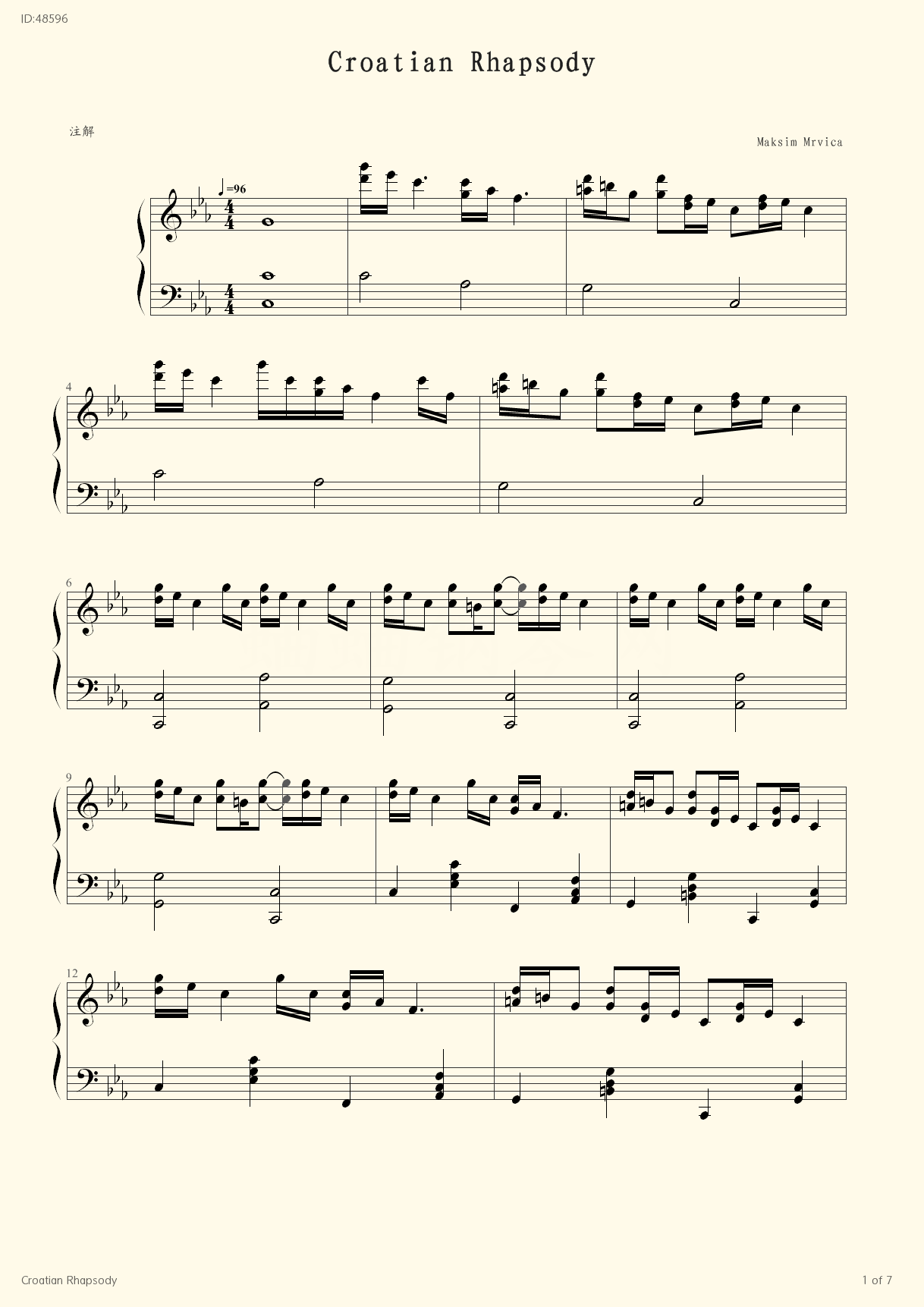 Croatian Rhapsody   - Maksim Mrvica - first page