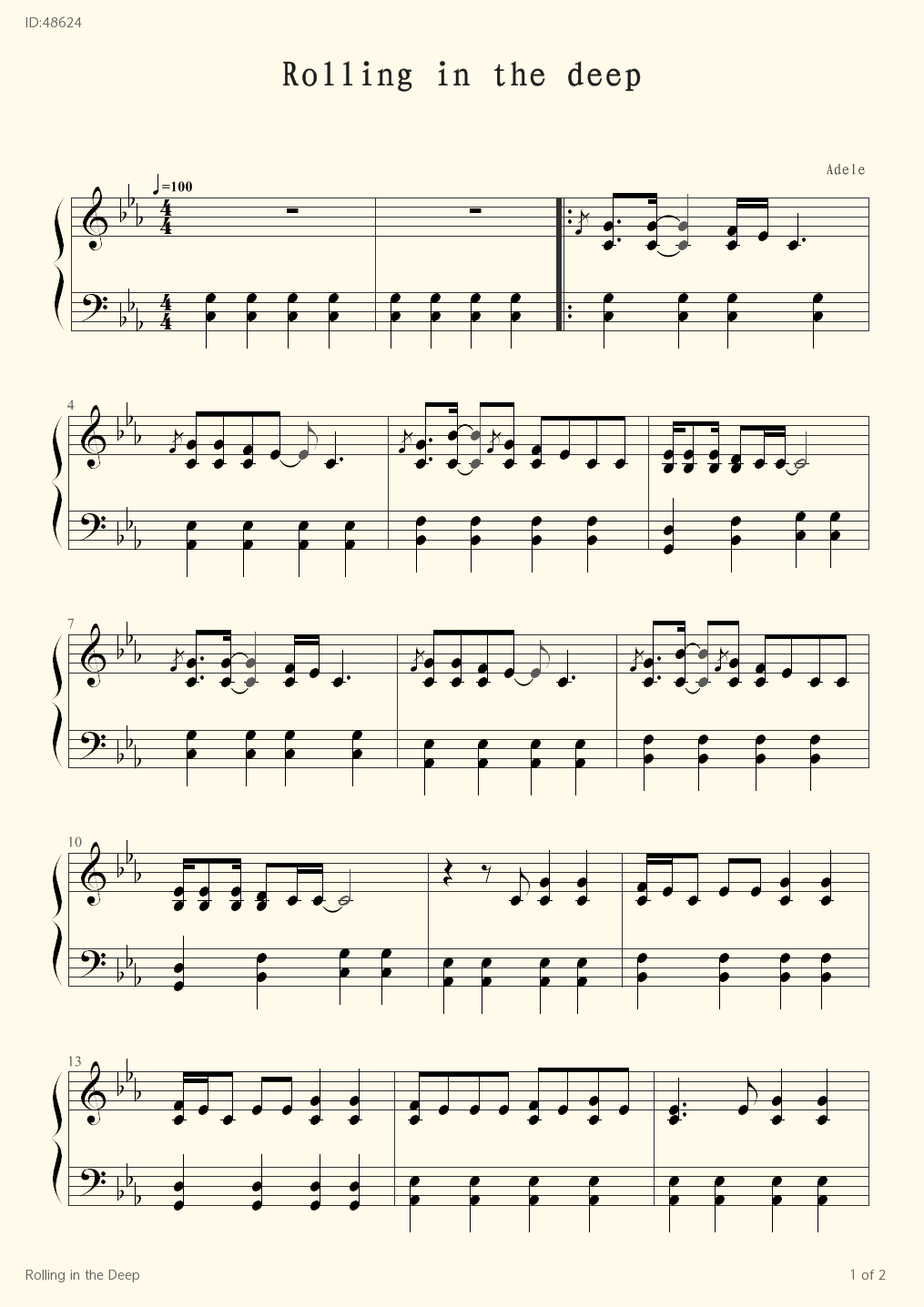 Rolling in the Deep - Adele  - first page