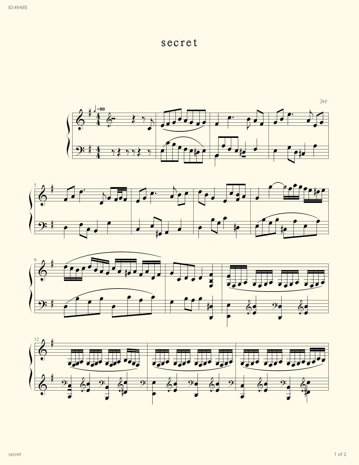 secret - Jay Chou - first page