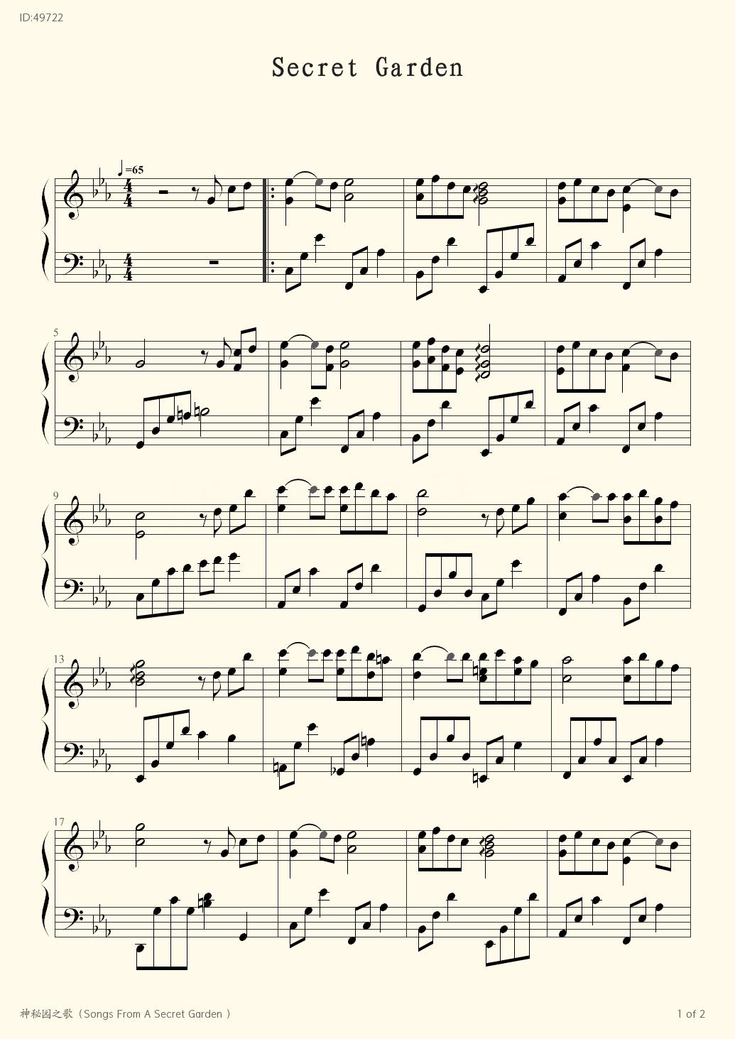 Songs From A Secret Garden - Secret Garden - first page