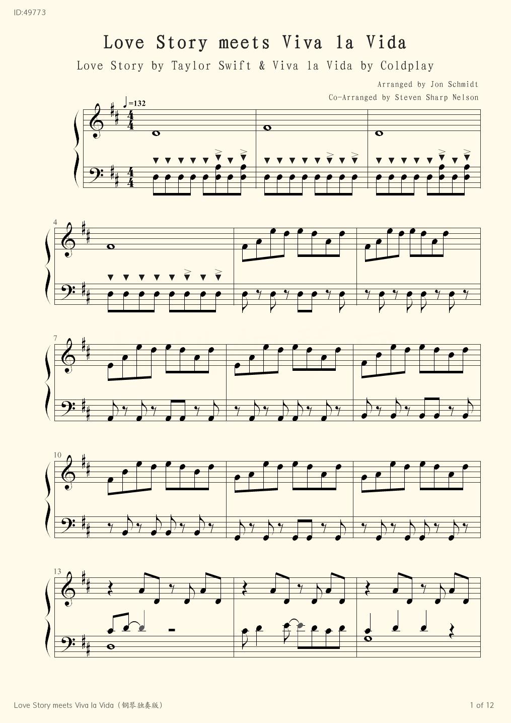 Love Story Meets Viva La Vida Piano Score Jon Schmidt Steven Sharp Nelson Piano Music Fingering Sheet Music Bar