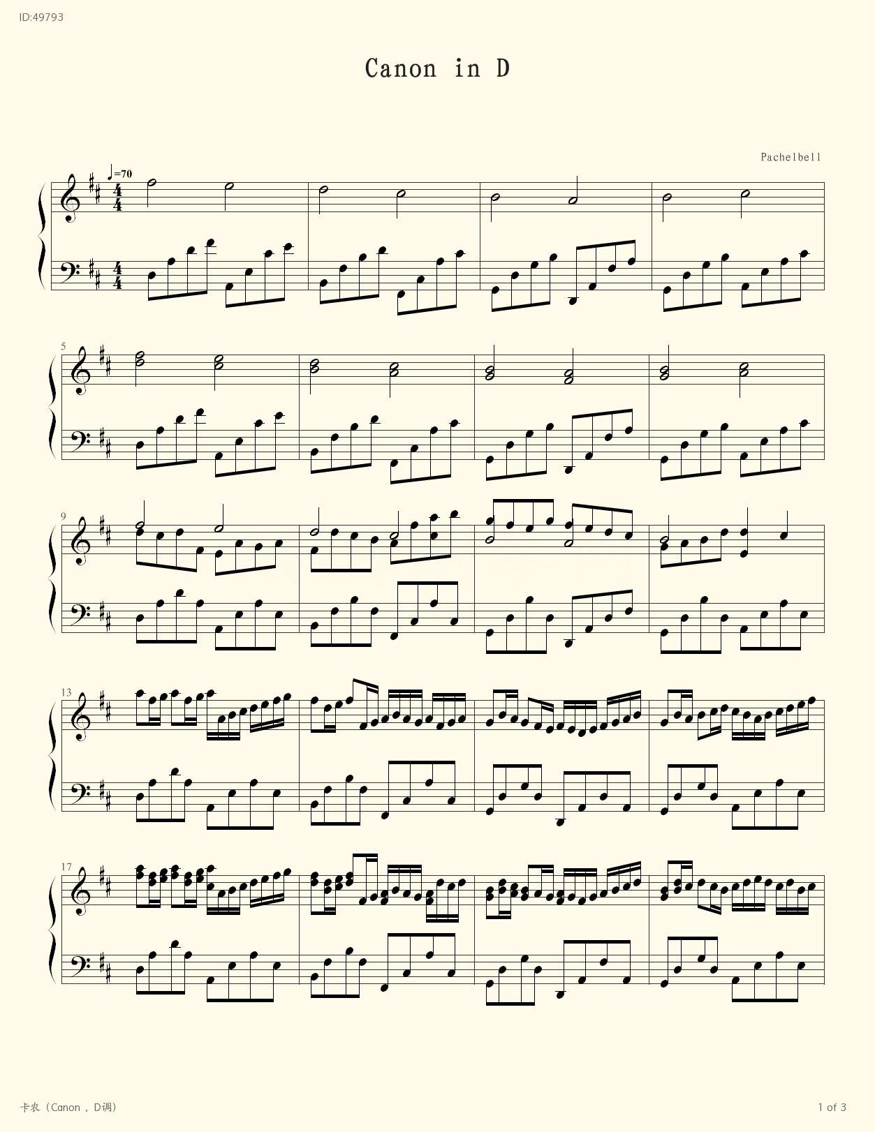 Canon D , Piano score》Unknown (Piano music Fingering