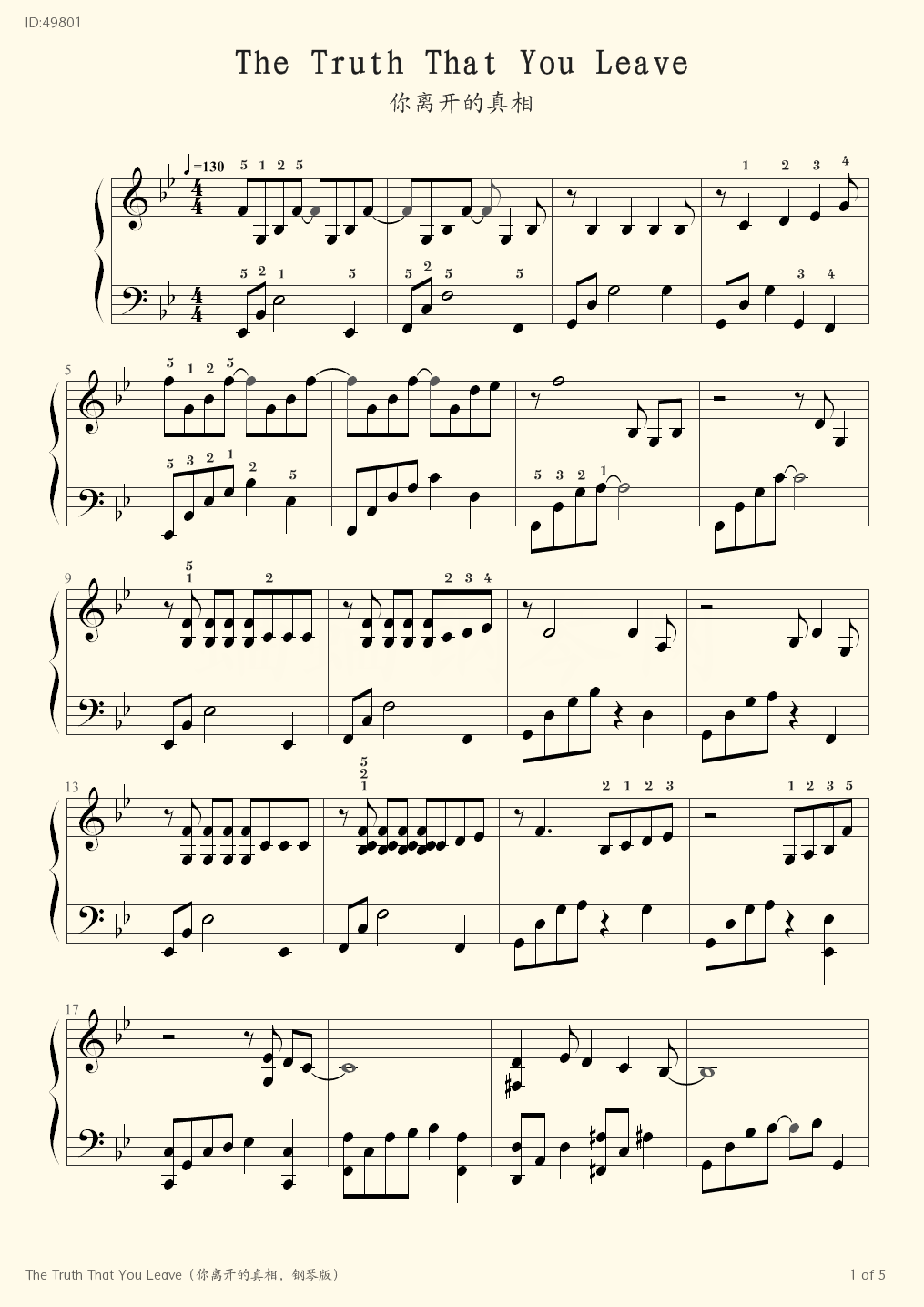 The Truth That You Leave  - Pianoboy - first page